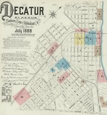 Decatur, Alabama Sanborn Map© sheets made 1884 and 1888~ Cd~ 11 maps in color