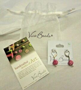 Viva Beads Handmade Clay Beaded Pierced Earrings Red Bead Unworn