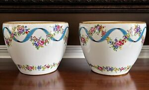 ANTIQUE PAIR HAND PAINTED SEVRES STYLE LARGE HEAVY PLANTERS FLOWER JARDINIERE