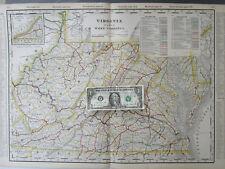 Va Wv Xl 1899 Virginia & West Virginia Cram Railroad Map Railway. 1800s