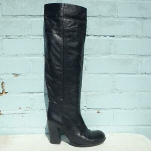 Pied a Terre Leather Boots Size UK 5 Eur 38 Womens Shoes Pull on Black Boots