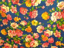 """Vintage Brushed Cotton Fabric Joan Kessler Roses 1 1/2yds x 43""""WYD"""