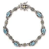 "Shey Couture 925 Sterling Silver w/14k Swiss Blue Topaz Antiqued Bracelet 7.25"""