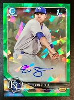 2018 Bowman Chrome EVAN STEELE Autograph Rookie Green Atomic Refractor SP /99