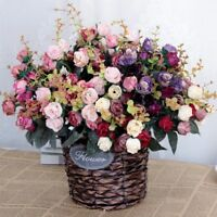 21/10 Heads Artificial Silk Rose Flowers Bouquet Fake Leaves Wedding Home Decor