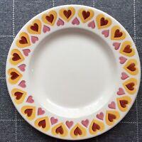 "EMMA BRIDGEWATER Yellow Hippy Hearts . 10-1/2"" DINNER PLATE . spongeware"