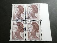 FRANCE BLOC timbres 2243 LIBERTE' DELACROIX, oblitéré 1982 cachet rond, QUARTINA