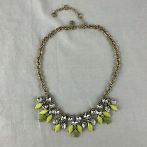 J. Crew Bib Statement Necklace Faceted Green Yellow Clear Crystals Gold Tone