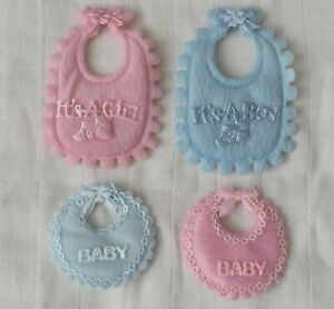 1 Pair of Baby Bib Motif Appliques Patches Club Green Pink or Blue CGC20 CGP21