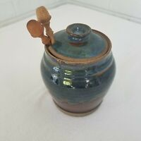 "Art Pottery Hand Thrown Blue Glazed Honey Pot Lid Utensils 5""Hx14.75""R FARMHOUSE"