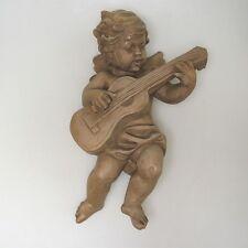 Hindelang Massivholz Handarbeit großer Engel Putto Wandengel ca. 32 x 21 cm (1)