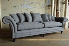 HANDMADE 4 SEATER SLATE GREY WOOL CHESTERFIELD SOFA, CUSHIONED SCATTER BACK