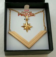 Captain Marvel Multiple Star & Chevron Comic Collectors Necklace Pendant New Box