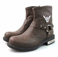 Mens Brown Cowboy Western Biker Faux Leather Boots Winter All Size UK 6 7 8 9 10