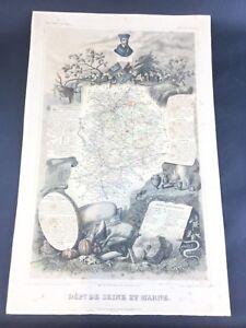 La Seine et Marne - Carte ancienne 1854 - Géographie Levasseur Département