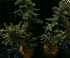 """Christmas Village Pine Trees 16"""" with 3 trees on 3-1/2"""" Ring Platform (Set of 2)"""