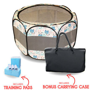 Portable Foldable Pet Playpen + Carrying Case & 24 Disposable Training pads