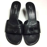 Donald J Pliner Women's Shoes Size 8.5 Black Slip On Veruka Sandals Leather