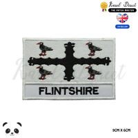 FLINTSHIRE Wales County Flag With Name Embroidered Iron On Sew On Patch Badge