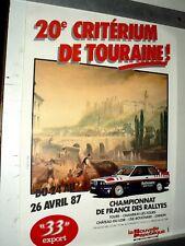 Affiche  20ème Critérium de Touraine BMW    1987   sport car course auto  poster