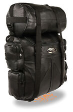 Motorcycle Large Genuine Leather Sissy bar bag travel T Bag with raincover New
