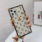 For iPhone 13 12 11 Pro Max XS XR 6 7 8 Luxury Retro Leather Square Case Cover