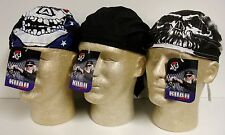 Lot Set 3 Black Skull Patriotic Road Hog Sweatband Doo Rag Headwrap Cap Biker