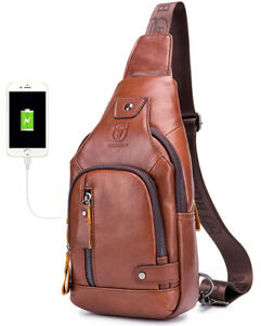 Genuine Leather Men's Outdoor Chest Bag Travel Hiking Daypack USB charge port
