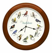 "Audubon Society Singing Bird Wall Sound Clock, Cherry Finish Wood Frame 13"""