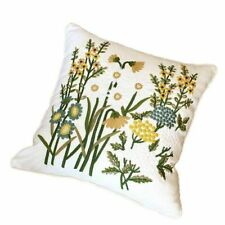 Country Vintage Style Embroidered Cushion Covers Linen Blend Throw Pillow Case
