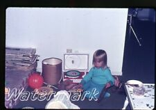 1972  35mm Photo slide  girls playing with Red Raven Movie Records player F