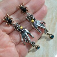 Art Deco Hand Bee Earrings Crystal Insect Vintage Style Silver Drop Lady Gift UK