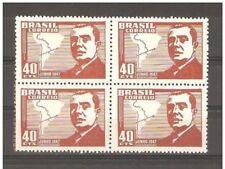 Brazil 1947,Maps,Pres.Gonzalez Videla of Chile,Scott # 671,Block of 4,MNH**