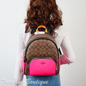 NWT Coach C5808 Court Backpack in Colorblock Signature Canvas Khaki/Firsnt Pink