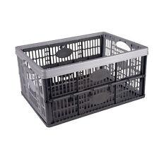 32 Litre Plastic Folding Black Storage Crates Collapsible Stackable Box