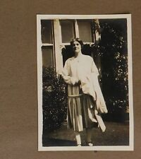 3 vintage 1920s photographs Lady in striped dress Drop waist womens fashion