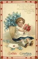 Valentine Unsigned Clapsaddle? Little Girl w/ Flowers - Heart Border Postcard
