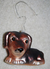 Dachshund Dog Puppy Handblown Painted Glass Christmas Ornament Collectible 4""