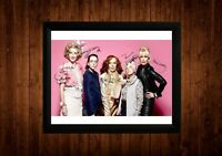ABSOLUTELY FABULOUS CAST SAUNDERS LUMLEY SIGNED PP FRAMED A4 GIFT IDEAS RETRO TV