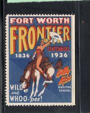 FORT WORTH TEXAS 1936 FRONTIER CENTENNIAL POSTER STAMP
