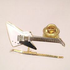 Vintage Miniature Explorer Guitar Pin White- Music Gifts Jewelry Gold Plated