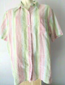60s 70s 80s WOMEN'S SHORT SLEEVE BUTTON TOP hipster retro vintage striped blouse
