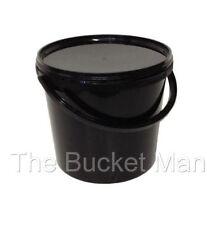 10 x 15 L Ltr Litre Black Plastic Bucket Containers with Lids & Plastic Handles