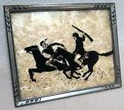 Reverse Painted Silhouette Original Folk Art One Of A Kind Western Cowboy Scene