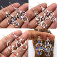 Kyanite Labradorite Carnelian Gemstone 925 Sterling Silver Dangle Earring av0007