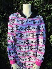 Disney Mickey Minnie Mouse Pink Hoodie Onsie Union Suit Adult Fleece Pajamas L