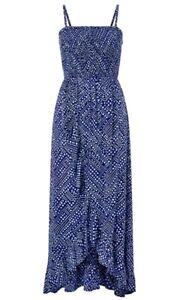 Monsoon Navy Spotted Bandeau Evening Casual Summer Handkerchief Maxi Dress £49