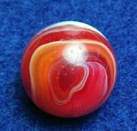 "5/8"" Stunning RUBY & Orange TRANSITIONAL CAC AKRO  Onyx Vintage Marbles .65"""