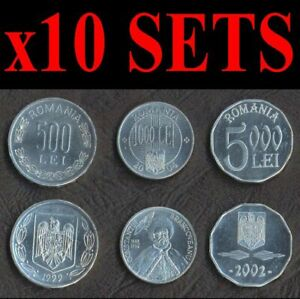ROMANIA 10 ALUMINIUM COIN SET 500+1000+5000 Lei 2000-2004 UNC LOT 3 x10= 30 PCS