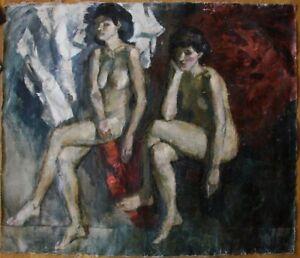 Russian Ukrainian Soviet Oil Painting postimpressionism nude figure girl realism